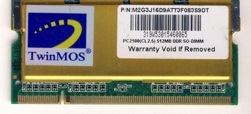 Память для ноутбука DDR SO-DIMM 512 Mb PC2100