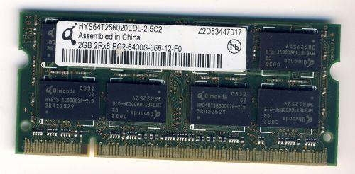 Память для ноутбука SO-DIMM DDR2, 2 Гб, 800 МГц (PC-6400) Qimonda