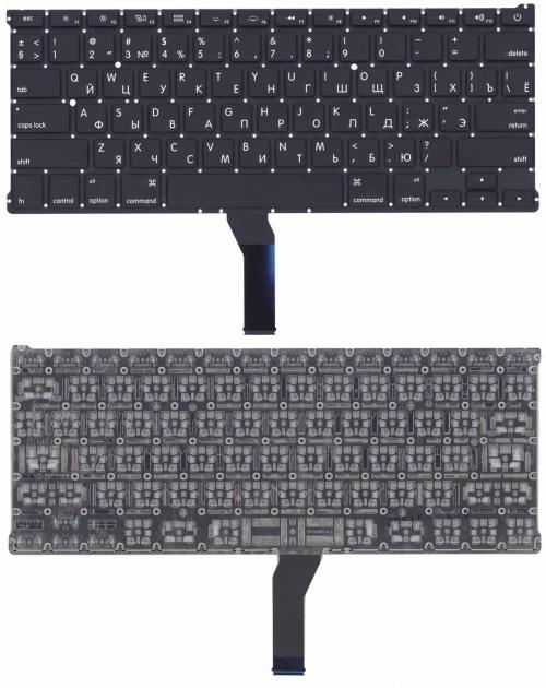 Клавиатура ноутбука Apple MacBook Air 13 A1369, A1466 черная, плоский Enter