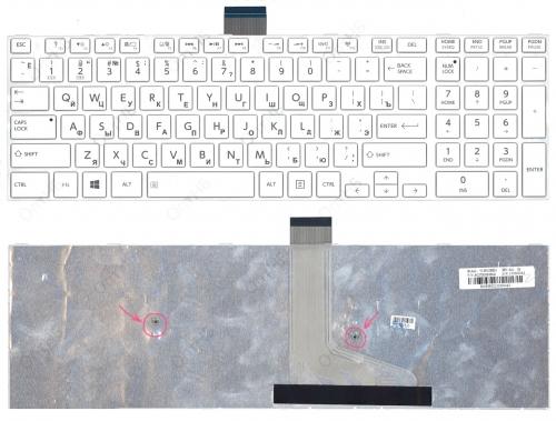 Клавиатура для ноутбука Toshiba Satellite L50, L70, S50, S55, S70 белая, с рамкой