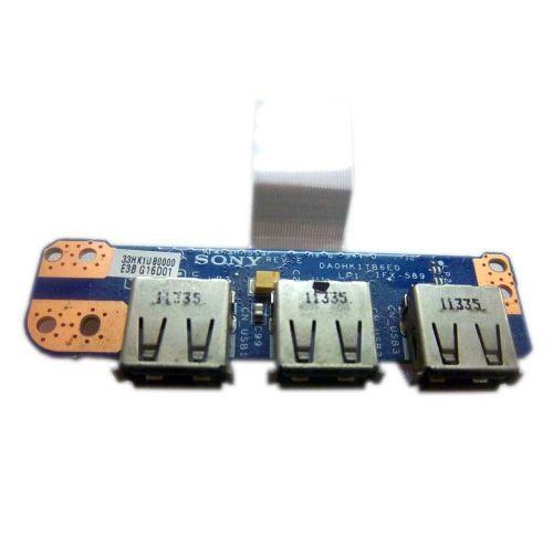 Плата 3xUSB для ноутбука Sony VPC-EH, Sony VPCEH DA0HK1TB6E0, 33HK1UB0000, IFX-589 + шлейф