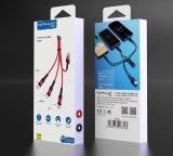 Кабель 3 в 1 Универсальный кабель  USB - micro USB, Lightning , USB Type C длина 10 см . Красный.